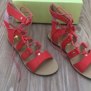 NWT orange red gladiator sandal